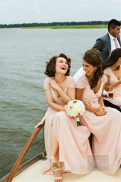 elegant champagne long bridesmaid dresses
