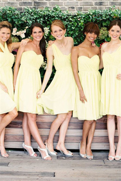 light yellow short bridesmaid dresses