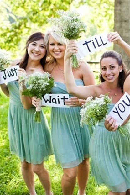 short strapless green bridesmaid dresses