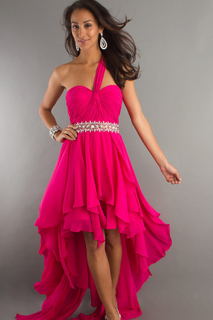 hot pink popular asymmetrical chiffon high low one shoulder formal gown with crystals