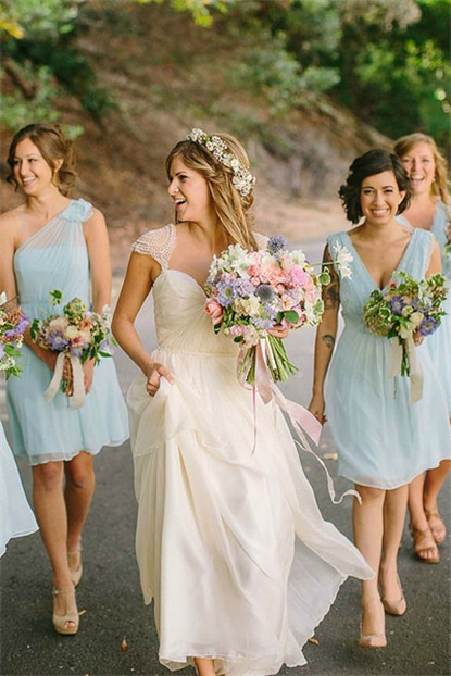 elegant tulle light blue bridesmaid dresses