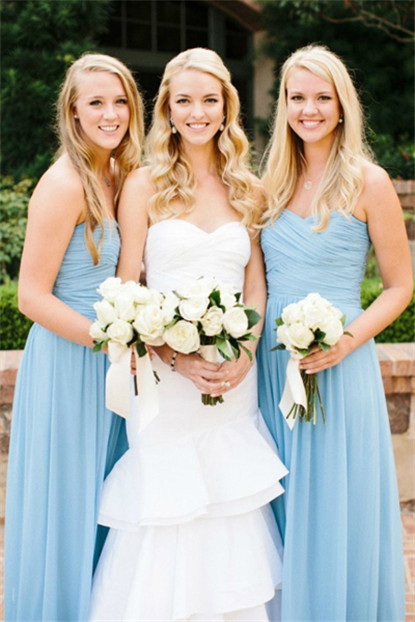 elegant strapless long chiffon bridesmaid dresses