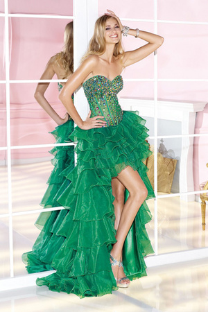 Organza Asymmetrical A-Line Sweetheart Crystals Green Formal Gown