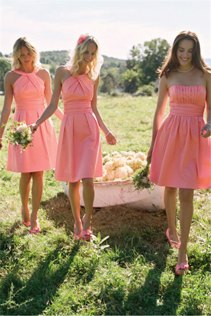 cute pink knee length bridesmaid dresses
