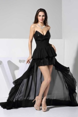 sexy black asymmetrical sequins chiffon aline sweetheart formal gown