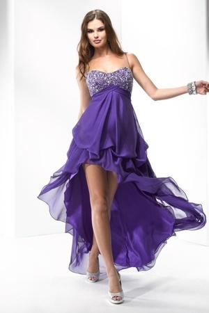 Spaghetti Straps Crystals Asymmetrical Chiffon Purple A-Line Formal Gown