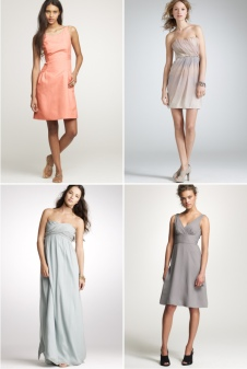 bridesmaid-dresses of different color and different style